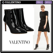 VALENTINO Studded Leather Pin Heels Elegant Style High Heel Boots