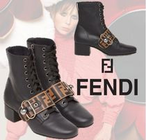 FENDI Monogram Round Toe Casual Style Plain Leather