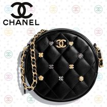 CHANEL Lambskin Studded Chain Plain Party Style Shoulder Bags