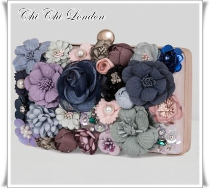 Flower Patterns 2WAY Chain Elegant Style Clutches