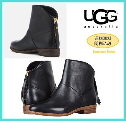 UGG Australia Ankle & Booties Round Toe Casual Style Tassel Street Style Plain Leather
