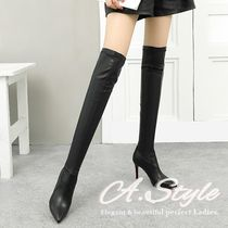 Casual Style Faux Fur Plain Over-the-Knee Boots