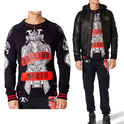 Skull Street Style U-Neck Long Sleeves Cotton