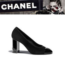 CHANEL Suede Plain Chunky Heels High Heel Pumps & Mules