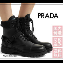 PRADA Round Toe Rubber Sole Casual Style Blended Fabrics Bi-color