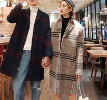 Other Check Patterns Unisex Street Style Long Oversized