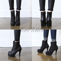 Plain Toe Casual Style Plain Pin Heels High Heel Boots