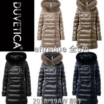 DUVETICA Fur Blended Fabrics Plain Medium Down Jackets