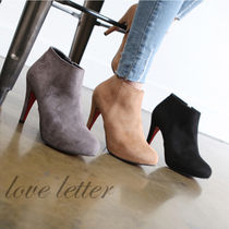 Square Toe Casual Style Suede Plain Pin Heels