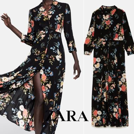 Flower Patterns A-line Cropped Long Dresses