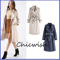 Chicwish Stripes Long Elegant Style Trench Coats