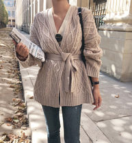 Cable Knit Casual Style Wool Long Sleeves Plain Medium