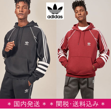 adidas Hoodies Pullovers Stripes Street Style Long Sleeves Plain Cotton