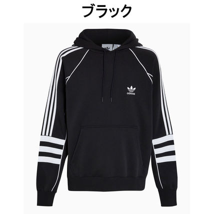 adidas Hoodies Pullovers Stripes Street Style Long Sleeves Plain Cotton 2