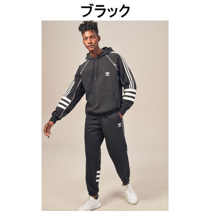 adidas Hoodies Pullovers Stripes Street Style Long Sleeves Plain Cotton 3