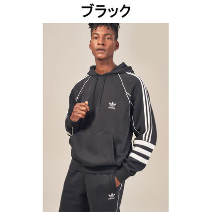 adidas Hoodies Pullovers Stripes Street Style Long Sleeves Plain Cotton 4