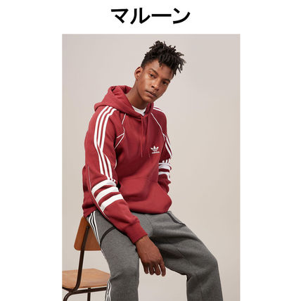 adidas Hoodies Pullovers Stripes Street Style Long Sleeves Plain Cotton 10