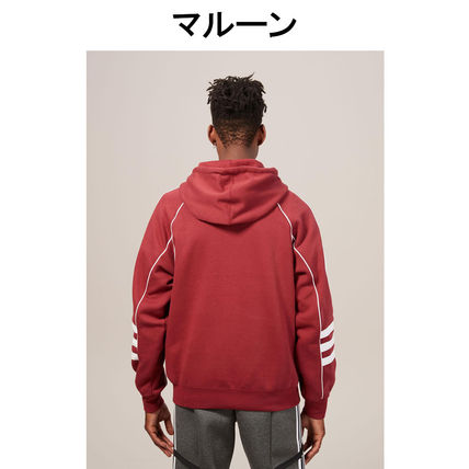 adidas Hoodies Pullovers Stripes Street Style Long Sleeves Plain Cotton 11