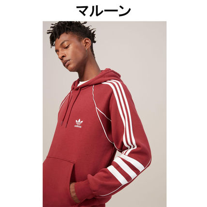 adidas Hoodies Pullovers Stripes Street Style Long Sleeves Plain Cotton 12