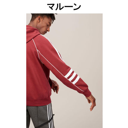 adidas Hoodies Pullovers Stripes Street Style Long Sleeves Plain Cotton 13