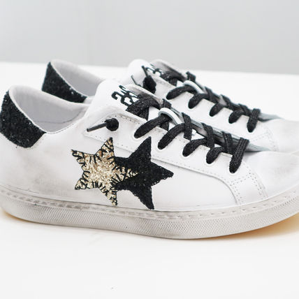 Star Casual Style Street Style Leather Low-Top Sneakers