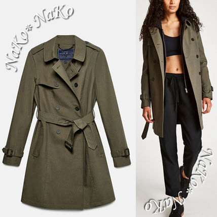 Casual Style Blended Fabrics Plain Medium Khaki Trench Coats