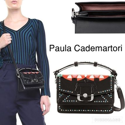 Calfskin Studded Party Style Shoulder Bags