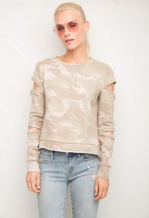 Camouflage Casual Style U-Neck Long Sleeves Cotton Medium