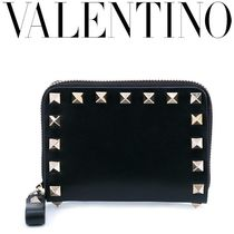 VALENTINO Calfskin Studded Plain Coin Cases