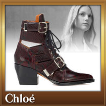 Chloe Other Animal Patterns Leather Block Heels Elegant Style