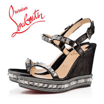 Christian Louboutin Open Toe Casual Style Suede Blended Fabrics Studded