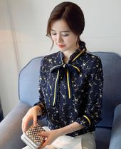 Stripes Flower Patterns Casual Style Long Sleeves Cotton