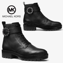 Michael Kors Round Toe Rubber Sole Casual Style Plain Leather