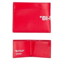 Off-White Plain Leather Folding Wallets