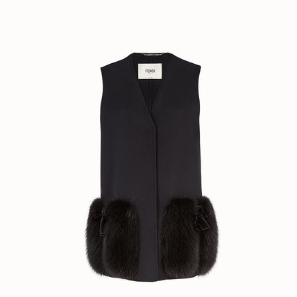 FENDI Fur Blended Fabrics Plain Long Fur Vests Elegant Style