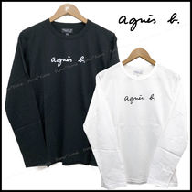 Agnes b Crew Neck Unisex Long Sleeves Plain Cotton