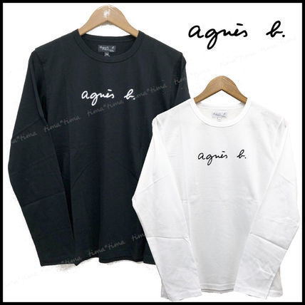 Agnes b Long Sleeve Crew Neck Unisex Long Sleeves Plain Cotton