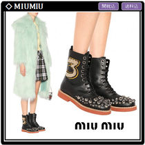 MiuMiu Round Toe Rubber Sole Casual Style Studded Leather