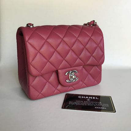 CHANEL CHANEL MINI SQUARE PINK 18AW lambskin silver HW