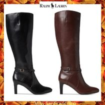 Ralph Lauren Rubber Sole Plain Leather Elegant Style Over-the-Knee Boots