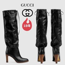 GUCCI Plain Toe Plain Leather Block Heels Elegant Style