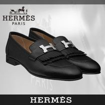 HERMES Plain Toe Blended Fabrics Plain Leather Fringes Oxfords