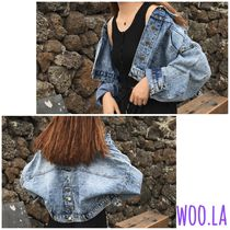 Short Casual Style Street Style Plain Denim Jackets