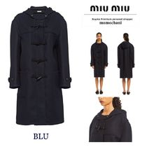MiuMiu Casual Style Wool Plain Long Duffle Coats