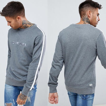 DIESEL Sweatshirts Crew Neck Unisex Street Style Long Sleeves Cotton
