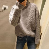 Cable Knit Street Style Long Sleeves Plain Cotton Medium