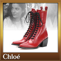 Chloe Casual Style Street Style Plain Leather Block Heels