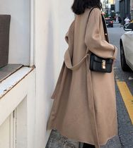 Casual Style Street Style Plain Long Oversized Chester Coats