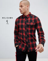 Religion Other Check Patterns Street Style Long Sleeves Shirts