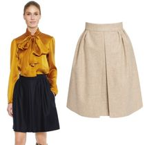 Paule Ka Flared Skirts Wool Plain Medium Midi Skirts